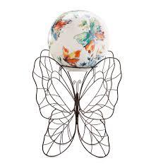 Gazing Globe Stand Ceramic Butterflies Garden Ball U0026 Stand Wind U0026 Weather