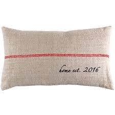 home design down pillow vintage grain sack lumbar pillow with custom est year design