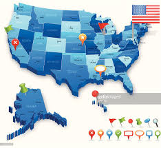 Map States by Usa 3d Map States Cities Flag And Navigation Icons Vector Art