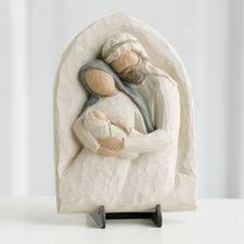 holy family metal edged ornament willow tree