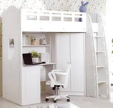 Bunk Beds With Desk Underneath Ikea Bedroom Excellent Neat White Loft Bed With Work Table And