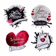 watercolor splatter wedding logo collection template free download