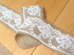 burlap and lace ribbon burlap and vintage ivory lace ribbon wedding decoration shower party