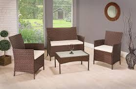 4 Seater Patio Furniture Set - 4 pieces 4 seater rattan garden furniture set 2 chairs 1 sofa 1