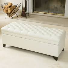 hastings tufted ivory leather storage ottoman by christopher