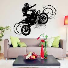 crazy motorcycle vinyl wall art decal home decor living room diy