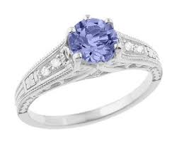 tanzanite engagement ring deco filigree tanzanite engagement ring in platinum with
