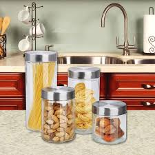 4 piece glass canister set stoneberry