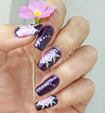 nail art one stroke floral by lizananails on deviantart