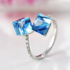 blue crystal rings images 2018 new high quality women jewelry cute 925 sterling silver blue jpg