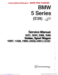 bmw 530i 2000 e39 workshop manual