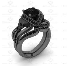 skull wedding ring sets black diamond skull black gold bridal set