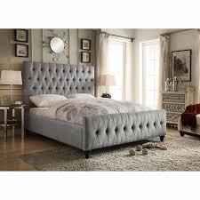 celeste grey upholstered bed