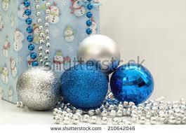 blue silver balls background stock photo