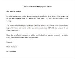 Embassy Letter From Bank 15 Letter Of Employment Templates Free Sle Exle Format