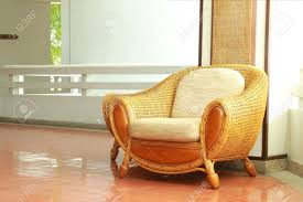 beautiful interior with wicker chair stock photo picture and