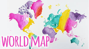 Watercolor Map Of The World by Watercolour World Map Painting Tutorial Youtube