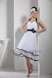 a line halter knee length white and black cocktail party dress