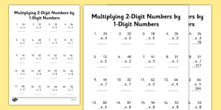 multiplying 2 digit numbers by 1 digit numbers activity sheet