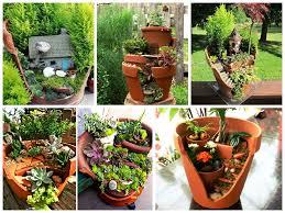 pots in gardens ideas garden in the broken flower pot