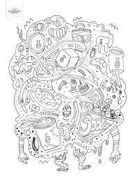 junk food monster coloring book page dental diy