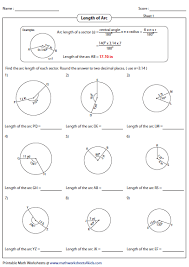 Segment Lengths In Circles Worksheet Answers Arc Length And Area Of Sector Worksheets