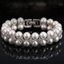 double pearl bracelet images Cwwzircons handmade wedding pearl jewelry double rows cubic jpg