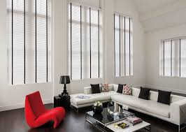 Living Room Curtains Blinds 50mm Stark White Wood Venetian Blinds With 38mm Jet Black Wide