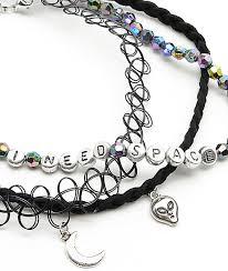 beaded necklace tattoo images Stone locket alien tattoo beaded choker necklaces zumiez jpg