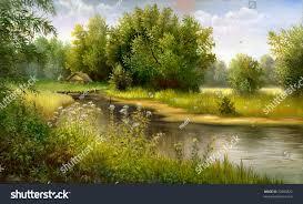 summer wood lake trees bushes stock illustration 23800822