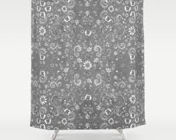 Shabby Chic Floral Curtains by Gray Floral Curtain Etsy