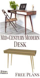 Wood Desk Plans Free by Remodelaholic Diy Mid Century Modern Desk