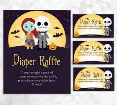 nightmare before christmas baby shower nightmare before christmas raffle sign and card