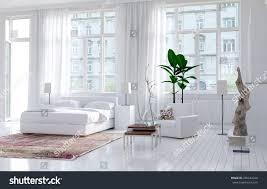 modern monochromatic bedroom interior apartment large stock