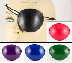 handmade leather eye patch plain color black red green blue or