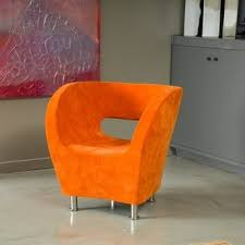 Microfiber Accent Chair Modern Orange Microfiber Accent Chair By Christopher Home