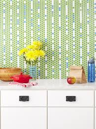 interior green and few blue penny tiles penny backsplash