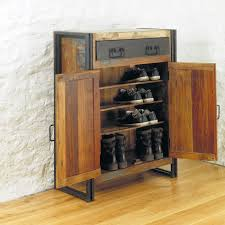 Tall Shoe Cabinet With Doors by Rustic Brown Wooden Shoe Rack With Double Doors And Black Metal