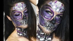 glam diamond skull easy halloween makeup look youtube