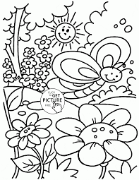 spring coloring pages butterfly flower rainbow coloringstar for
