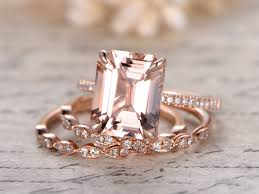 engagement rings sets 3pcs morganite engagement rings set 9x11 emerald cut morganite