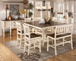 8 piece dining room set white counter height table leather backless bar stools wood bar