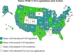 American State Map by Latest Map Of American States With Uas Legislation Uas Vision