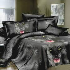 Black Bedding 4pcs 3d Printed Bedding Set Bedclothes Black Tiger Queen King