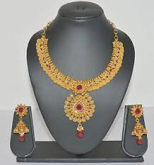 one gram gold designer necklace earring set gold jewellery for