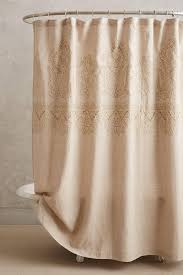 Embroidered Linen Curtains Linen Ivory Shower Curtain