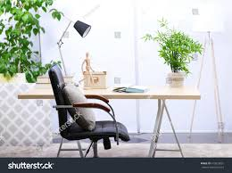 office in living room workplace table office chair lamp living stock photo 415923031