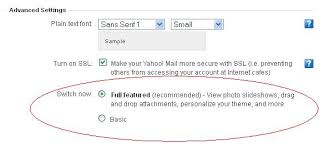 mail yahoo basic how to switch between the basic and full featured versions of yahoo