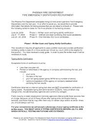 Fire Department Resume Dispatcher Resume Format Resume Cover Letter Example