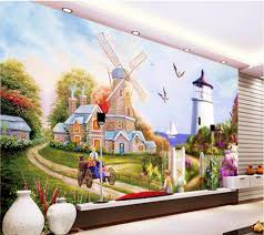 popular lighthouse wallpaper buy cheap lighthouse wallpaper lots custom mural 3d photo wallpaper european windmill lighthouse painting picture 3d wall murals wallpaper for living